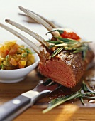 Rack of lamb with curried aubergine puree