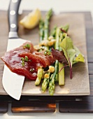 Green asparagus with tuna and egg marinade
