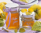 Two jars of quince jelly to give as gifts