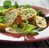 Veal forcemeat with herbs, potatoes and corn salad