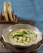 Savoy cabbage and chestnut soup