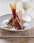 Triglie con schiumetta d'aglio (Rotbarben mit Knoblauchsauce)