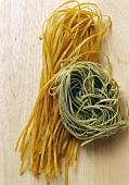 Coloured ribbon pasta