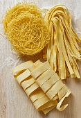 Various types of pasta: pappardelle, tagliatelle & vermicelli