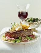 Bistecca alla fiorentina (Beefsteak with bean salad)