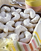 Vanilla crescents in a tin