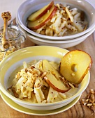 Celeriac with mustard, fried apple rings and walnuts