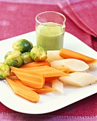 Winter vegetables with salsa verde