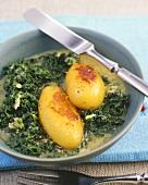 Kale with caramelised potatoes