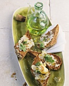 Baked garlic on wholemeal crostini