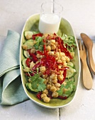 Chick-pea, pepper and courgette salad with yoghurt