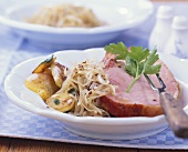Kassler (smoked, salted pork) with Bavarian cabbage
