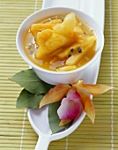 Pineapple, passion fruit & papaya compote with bay leaves