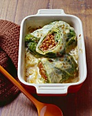 Savoy cabbage leaves stuffed with cereal bolognese & thyme