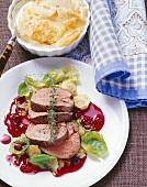 Venison fillet, Brussels sprouts, cranberries & celeriac gratin