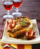 Lamb chop with rosemary and red wine shallots