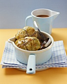Stuffed cabbage leaves in a pan