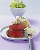Beef fillet (rare) with herb butter