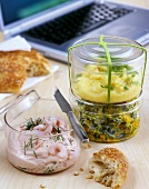 Various spreads: potato, shrimp and yoghurt and spinach