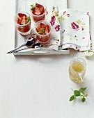 Gelatina di pesche (Peach jelly on Moscato sauce, Italy)