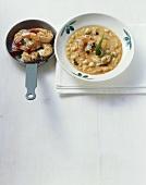 Crema di ceci con gamberi (Chick-pea soup, Italy)