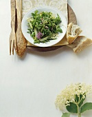 Insalata di erbette e fiori (Rocket and wild herb salad)