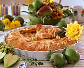 Birnenkuchen: Blätterteig mit Birnenfüllung