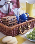 Peanut butter and jelly sandwiches in picnic basket