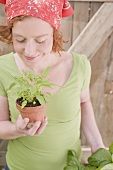 Young woman with sage in flowerpot