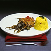 Aubergine curry with pilaw rice