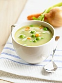 Cream of vegetable soup with peas