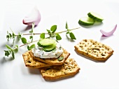 Cracker spread with soft cheese