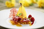 Saffron pear with raspberry ravioli