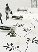 Table set in black and white