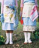 Two girls gardening