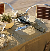 A table laid outside