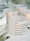 Candle holder menus