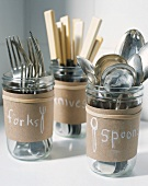 Cutlery in glass jars