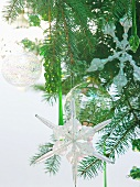 Glass decorations on Christmas tree