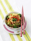 Asian noodle, chicken and vegetable dish