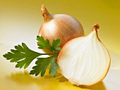 A whole onion and half an onion