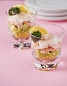 Shrimp cocktail in glasses
