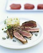 Seared tuna with asparagus tartare and caper sauce