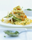 Vegetable noodles with nut pesto
