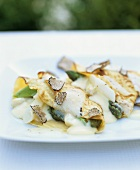 Baked crespelle with asparagus ragout and black truffle