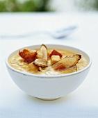 Sweet potato soup with asparagus crisps and Parma ham