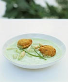 Asparagus & ramsons (wild garlic) soup with salmon parcels