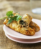 Filo pastry rolls filled with tuna and capers
