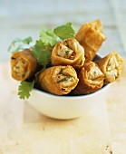 Spring rolls with vegetable filling and coriander