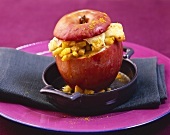 Baked apple stuffed with curried Hamburg parsley